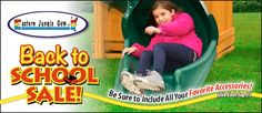 Shop during the Eastern Jungle Gym Back to School Sale and save hundreds on a new cedar swing set for the kids! We're also offering great deals on swing set parts and swing set accessories! Buy hurry, this sale ends Sept. 25!
