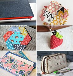 LOVE the strawberry bag, but might be too many steps for me.     Tutorials for small things to sew | How About Orange