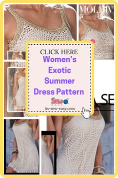 With this pattern, you get everything you need to make this stunning summer dress. The pattern features among other things a PDF with the drawings and diagrams of how to make the dress. You also get loads of photos and clear instructions that will make it easy for you to bring this little beauty to life. #summerdresspatterns#sewingpatterns#dresssewingpatterns#easysewingpatterns#womenssummerdresspatterns Crochet Summer Dresses, Summer Dress Patterns, Dress Sewing Patterns, Stunning Summer, Love Sewing, Unique Dresses, Crochet Top, Stylists, Pdf