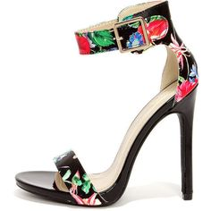 My Delicious Canter Black Floral Print Ankle Strap Heels featuring polyvore, women's fashion, shoes, pumps, heels, black, black stiletto pumps, multi colored pumps, multi-color pumps, black heeled shoes and high heel pumps