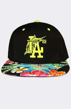 The FLA Floral Custom Snapback_Lime by 8103