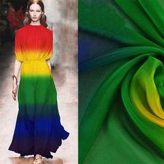 0c54637e5f0d Amerikanischen stil regenbogen farbe streifendruck 100% seide chiffon stoff  für kleid aus reiner seide tuch