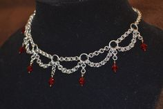 Chainmaille Necklace with Crystals.