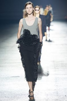 Black midiskirt embellished with frills by Dries Van Noten | Spring 2014 Ready-to-Wear Collection | Style.com