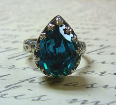 Gothic Medieval Vintage Sterling Silver Blue Zircon Swarovski Crystal Ring with Floral Band <3