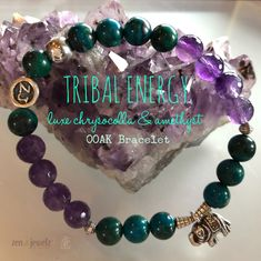 Experience Tribal energy at its finest! This OOAK bracelet is a luxe Chrysocolla & Amethyst combo with a Hill Tribe Elephant centerpiece & Hill Tribe silver accents. The deep rich colors of these gems invoke inner strength along with the power of Elephant medicine. Tribal jewelry | Amethyst | Chrysocolla | Healing jewelry | energy medicine | zen jewelz | ZenJen