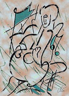JACQUELINE DITT - Jazz  limitiert signiert  Grafik im Alu Rahmen 13x18 cm Musik