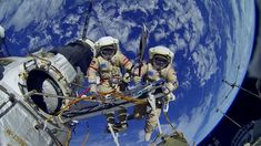 Cosmonauts Oleg Kotov and Sergey Ryazanskiy are seen posing with the Olympic torch during a Nov. 9, 2013 spacewalk outside the International Space Station. The same torch was used to light the Olympic Cauldron in Sochi, Russia. [Read the Full Story Behind This Photo Here]