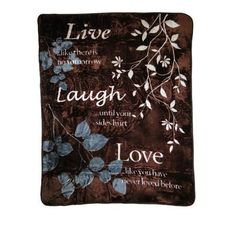 Shavel Home Products Live Laugh Love Polyester Throw Blanket