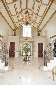 Melissa & Joe Gorga Real Housewives Of New Jersey Grand Foyer~ Staircase Handrail, Grand Staircase, Staircases, Stairs, Grand Foyer, Grand Entrance, Mansions Homes, Entry Foyer, Celebrity Houses