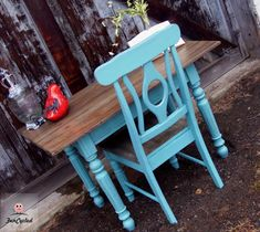 Warm Teal and Aged Wood Desk from FunCycled