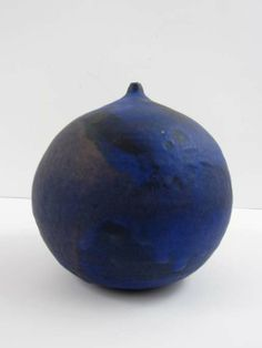 Artist: TAKAEZU, TOSHIKO (American 1922 - 2011)  Title: Blue and Dark Blue Stoneware Moonpot with rattle  Medium: stoneware ceramic  Dimensions: 6.5 x 6.5 x 6.5 inches  Provenance: acquired from the artist