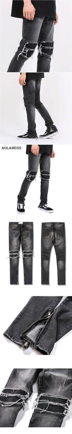 Aolamegs Biker Ripped Jeans For Men Elastic Side Zipper Holes Denim Pants Mens Skinny Jeans Trousers Bottoms Fashion Kanye Brand