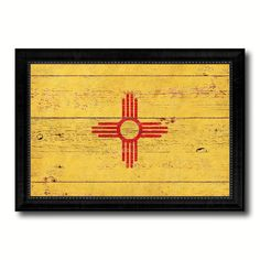 New Mexico State Vintage Flag Canvas Print with Black Picture Frame Home Decor Man Cave Wall Art Collectible Decoration Artwork Gifts