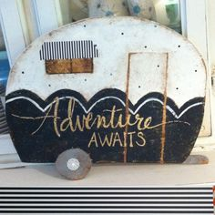 Retro camper cutout sign black and white by SweetLillyDoodles on Etsy www.c… 2019 Retro Campers, Happy Campers, Vintage Campers, Vintage Motorhome, Vintage Trailers, Camping Theme, Camping Crafts, Camping Gear, Camping Equipment