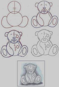 How to draw Tatty Teddy Disney Drawings, Cartoon Drawings, Animal Drawings, Easy Drawings, Drawing Sketches, People Drawings, Drawing Ideas, Pencil Drawings, Drawing Disney