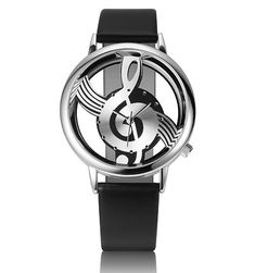 Unique Woman's Quartz Analog Hollow Musical Note Style leather Wrist Watch