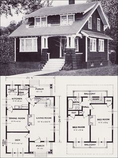 Vintage Home Plans - The Alta Vista Craftsman-style Bungalow - Standard Homes Company Best House Plans, Small House Plans, House Floor Plans, Craftsman Bungalow House Plans, Craftsman Bungalows, Craftsman Homes, Modern Bungalow, Vintage House Plans, Vintage Homes