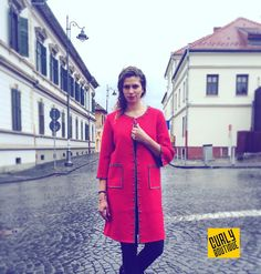 Red Cardigan #sibiu #shopping Red Cardigan, Romania, Curly, Boutique, Coat, Jackets, Shopping, Fashion, Red Trench Coat