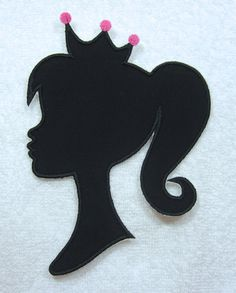 barbie silhouette | Barbie Silhouette with Crown Large Fabric Embroidered Iron On Applique ...