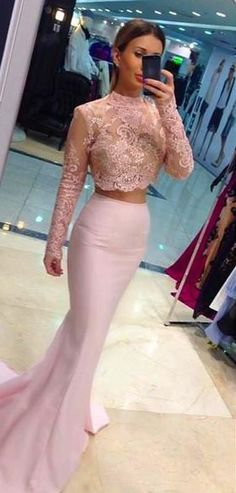 2016 Two-Piece Mermaid Prom Dresses High Neck Long Sleeves Lace Pink Evening Gowns for Teens