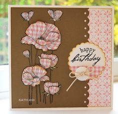 handmade birthday card: Delicate blossoms ... brown and pink with black ink ... botanical poppies ... paper piecing ... flowers stamped on pink gingham print paper, fussy cut and adhered over the stamped stems ... fun country feel ...