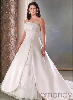This is a beautiful dress!!! (and it comes in fat people sizes!! HAHA) strapless empire waist princess satin with applique wedding gown plus size wedding dress. $215.00, via Etsy.- SP