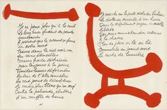 "Graphic design work of: Pablo Picasso: Book spread for ""The Song of the Dead"" a book of poetry by Pierre Reverdy, 1948"