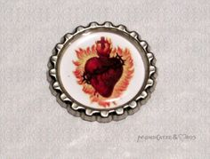 -f031b- Kronkorken Magnet, SACRED HEARTS 2, € 2,80 , bottlecap von Mondcatze´s Zauberwerkstatt auf http://de.dawanda.com/shop/Mondcatze