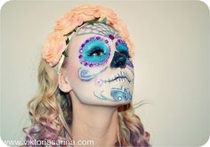 Halloween Makeup: Sugar-Skull #halloween {girly halloween look and costume}