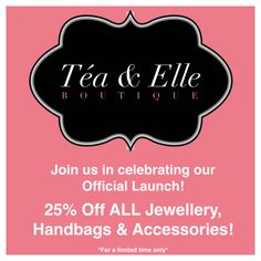 25% off everything for a limited time! www.facebook.com/TeaAndElle - Just in time for some weekend shopping!!!!