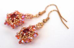 """Beading Pattern - Tutorial Earrings """"Sea Flower"""" by PrettyNett"""