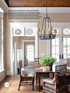 Wicker dining chairs in a dark walnut finish were the best match for this dark oak breakfast table.  Magazine: Better Homes & Gardens  www.mainlybaskets.com