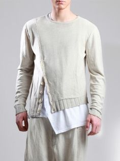 KNIT COTTON SWEATER WITH UNEVEN DYE