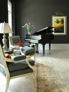 All of the elements work really well together in this piano room. It makes the piano very appealing.