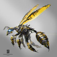 bee mech by psdeluxe on DeviantArt Robot Concept Art, Creature Concept Art, Armor Concept, Weapon Concept Art, Creature Design, Arte Robot, Robot Art, Animal Robot, Witcher Wallpaper