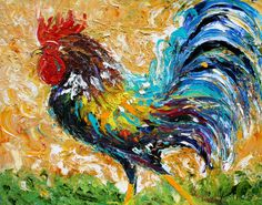 Fine art print from oil painting by Karen Tarlton - ROOSTER modern impressionism art