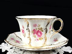 Vintage Royal Tara Tea Cup and Saucer, Pink Rose Floral Teacup Made in IrelandThis beautiful set is in great vintage condition. There are no chips, cracks, craz