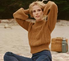 In a soft baby alpaca blend, the DÔEN Tree of Life Lulu Sweater takes our classic Lulu shape with its cozily thick collar and bubble sleeves and adds 70s-refere