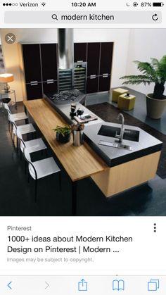 FB # inspiraçao cozinha # Minimalistic-modern-luxury-kitchen-island-design-with-wooden-contemporary-furniture-bar-and-chairs Modern Kitchen Plans, Modern Kitchen Design, Interior Design Kitchen, Kitchen Contemporary, Modern Design, Contemporary Garden, Farmhouse Interior, Transitional Kitchen, Kitchen Sink Design