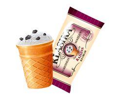 Klasika vanilla cream ice cream with raisins in wafer cup