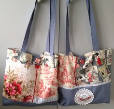 Market bags made by Pintrish. Vintage, modern, ceramic buttons made by Raewyn Roberts-clay artist, doily, ric-rac.