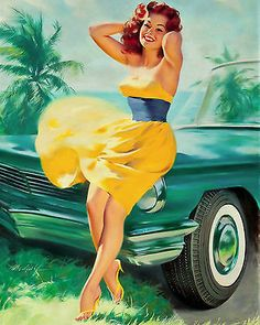 Details about retro vintage pin up girl yellow dress pinup canvas art print s besuch des national packard museum classic car museums sights besuch c Pin Up Vintage, Retro Pin Up, Mode Vintage, Vintage Girls, Retro Vintage, Retro Pics, 50s Pin Up, Retro Art, Vintage Style
