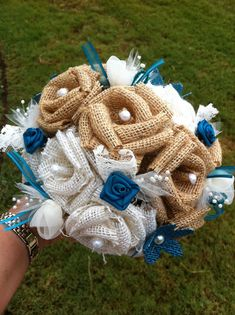 Custom Burlap Bouquet by RoundRockCrafts on Etsy, $85.00