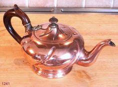 Antique French Fluted Copper Teapot with Wooden Handle and Finial