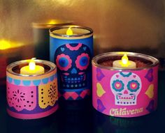 Day of the Dead candle centrepiece: Printable tin can labels!