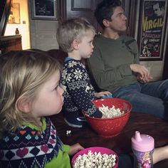 Pin for Later: Gisele, Kim, Molly, and More Shared the Sweetest Snaps of Their Tots This Week!  David Burtka sneaked in a popcorn snack with his kids, Gideon and Harper, on Thanksgiving.
