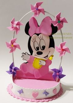 Minnie baby foam Adorno de torta Minnie bebé Mickey Mouse, Minnie Mouse Baby Shower, Micky Mouse Club House, Minnie Mouse Decorations, Baby Shower Souvenirs, Birthday Centerpieces, Mini Mouse, Mickey And Friends, Projects To Try