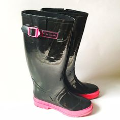 Marc Jacobs Rubber Rain Boots You'll be the most stylish one stomping through the spring rain wearing these boots! Excellent condition, slightly used as seen on the soles no other blemishes. Pink & Black to match anything in your closet  Style Obsessions HP 2/3/16 Marc Jacobs Shoes Winter & Rain Boots