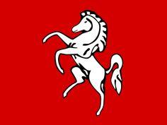 Invicta - The White Horse, the symbol of Kent. Also the motto of Kent. National Symbols, National Flag, Logo Horse, County Flags, Old Symbols, Kent County, Kent England, Alternate History, White Horses